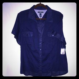NWT Karen Scott 2X Blue Button Shirt